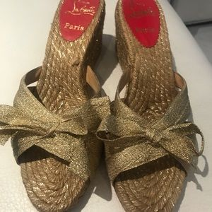 Christian Louboutin gold sandals size 40